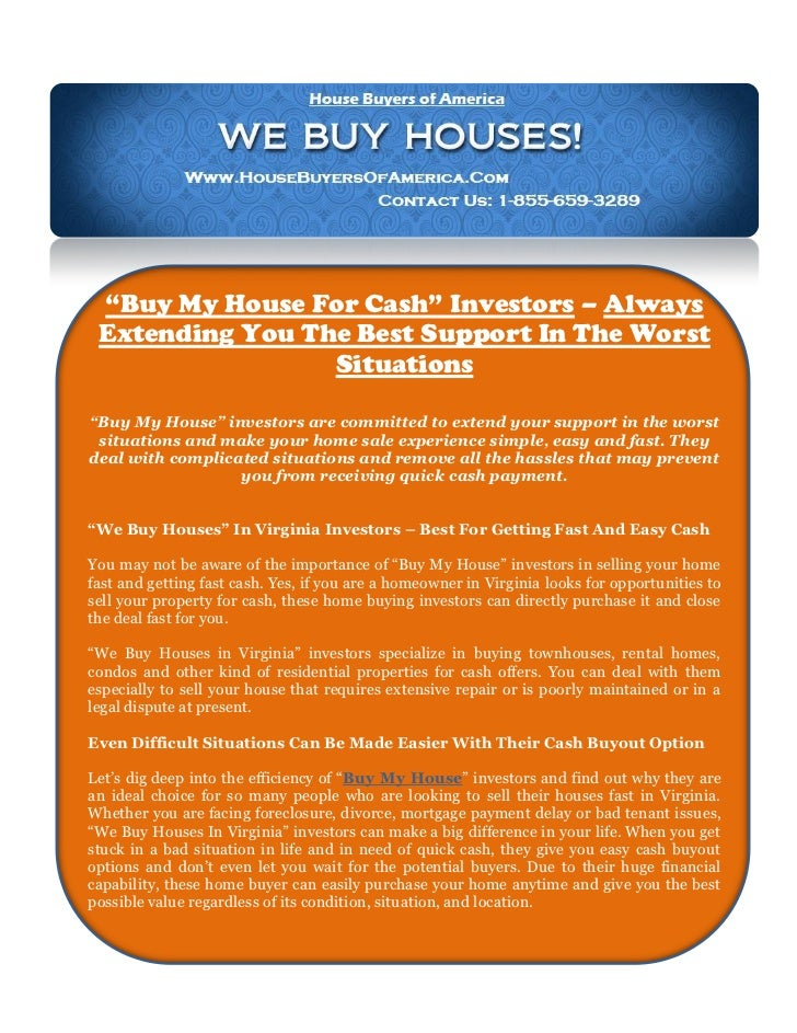 "Buy My House For Cash"" Investors – Always Extending You The Best Sup…"