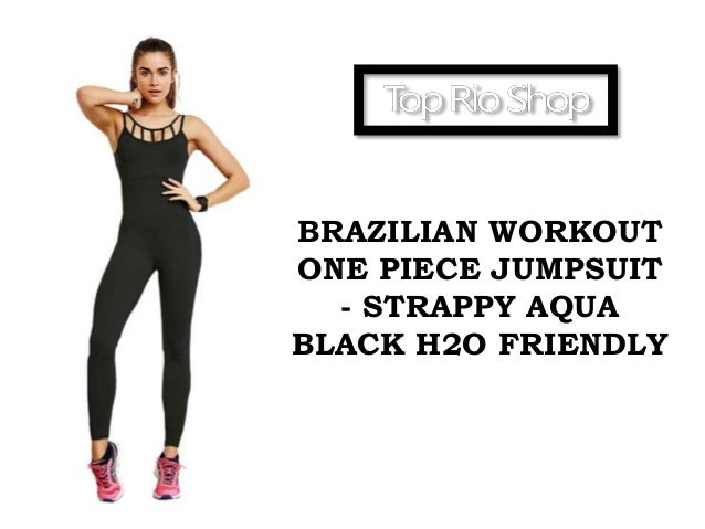 brazilian workout one piece jumpsuit strappy aqua black h2o friendly