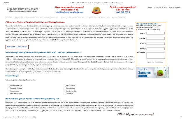 List of Dental Office Names | Dental Clinic Email Database