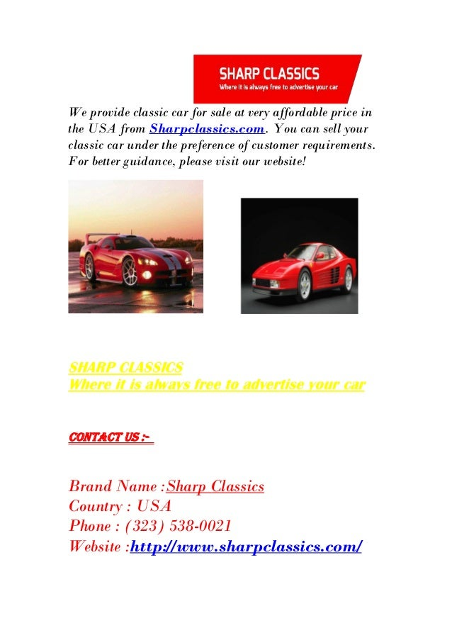 Buy Vintage Cars Online in USA - Sharpclassics.com