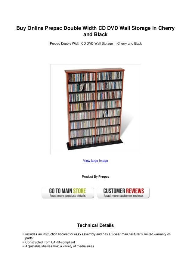 Buy Online Prepac Double Width CD DVD Wall Storage In Cherryand BlackPrepac  Double Width CD DVD ...