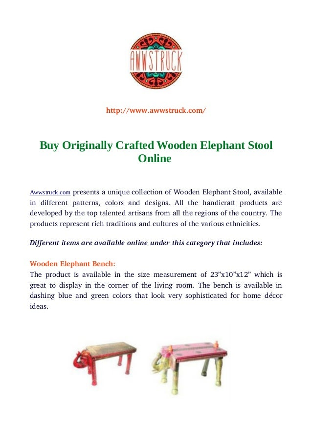 Buy Originally Crafted Wooden Elephant Stool Online
