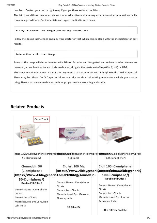 Buy Ovral G Norgestrel Ethinyl Estradiol