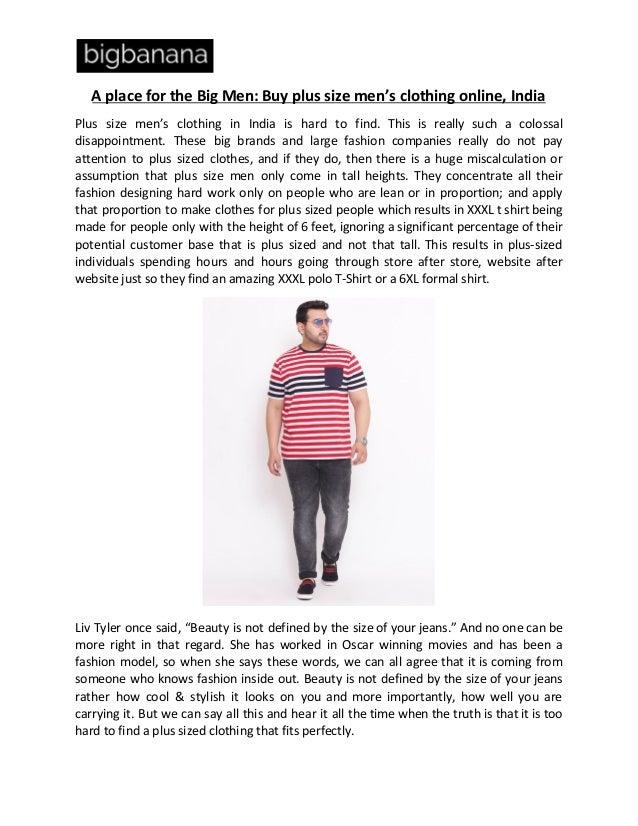 Buy Plus Size Mens Clothing Online Bigbanana