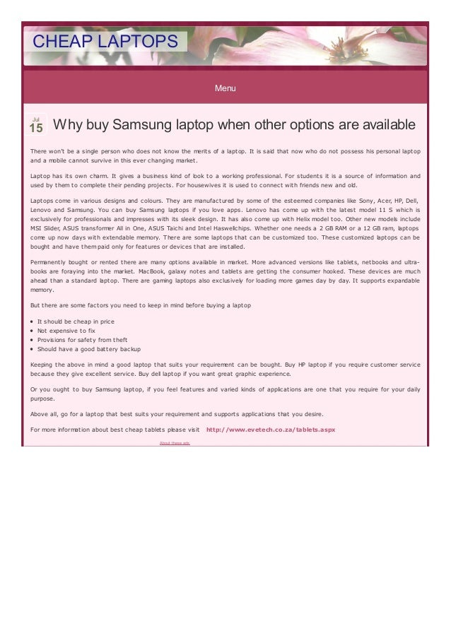 Menu Why buy Samsung laptop when other options are availableWhy buy Samsung laptop when other options are available There ...