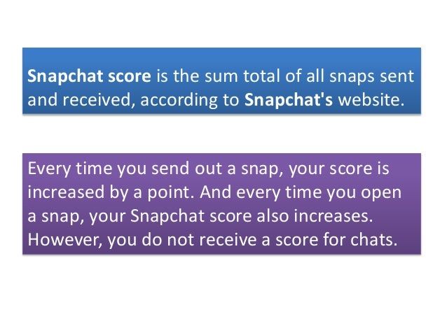 Does snap score go up when you chat