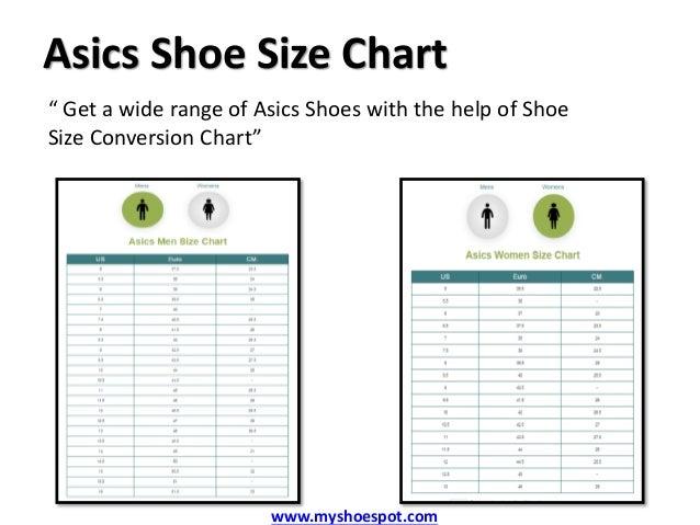 asics childrens shoe size chart