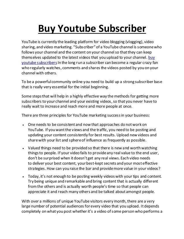 Buy youtube subscriber 1