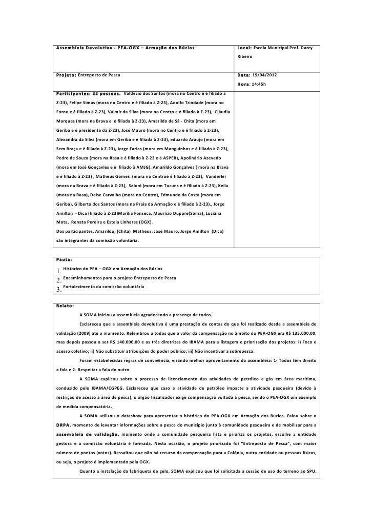 Assembleia Devolutiva -‐ PEA-‐OGX – Armação dos Búzios                                                    ...