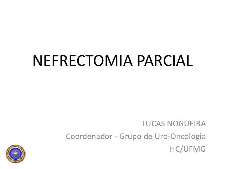 NEFRECTOMIA PARCIAL<br />LUCAS NOGUEIRA<br />Coordenador - Grupo de Uro-Oncologia<br />HC/UFMG<br />