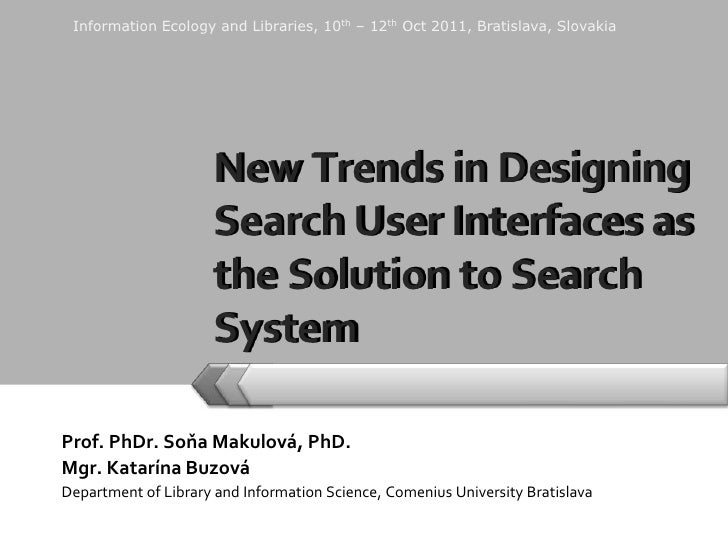Prof. PhDr. Soňa Makulová, PhD.<br />Mgr. Katarína Buzová<br />Department of Library and Information Science,Comenius Univ...