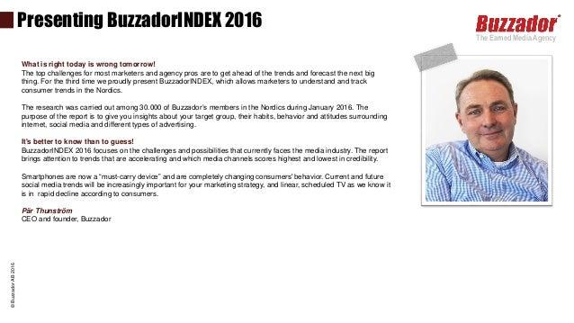 Media trends Nordics BuzzadorINDEX 2016 (Sweden angle)  Slide 2
