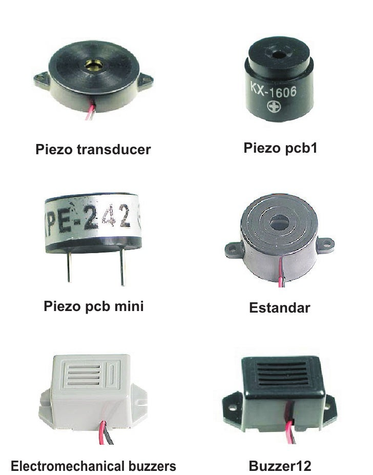 Piezo transducer         Piezo pcb1    Piezo pcb mini          EstandarElectromechanical buzzers   Buzzer12