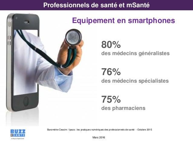 Mars 2016 Baromètre Cessim / Ipsos : les pratiques numériques des professionnels de santé - Octobre 2015 Professionnels de...