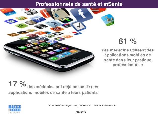 Mars 2016 Observatoire des usages numériques en santé Vidal / CNOM / Février 2015 Professionnels de santé et mSanté 61 % d...