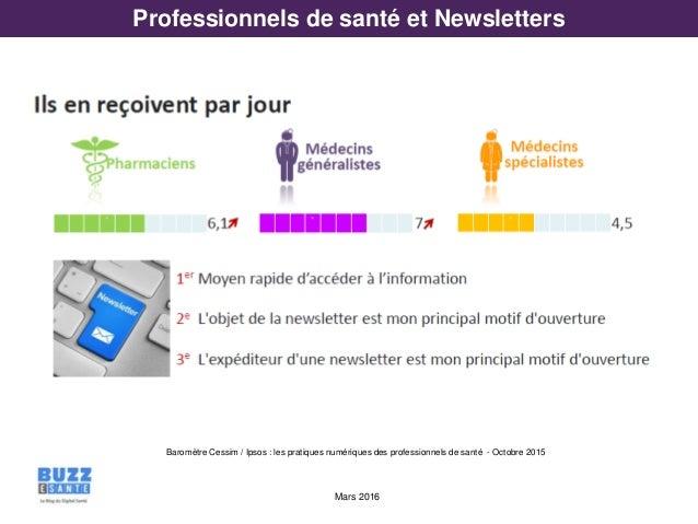 Mars 2016 Professionnels de santé et Newsletters Baromètre Cessim / Ipsos : les pratiques numériques des professionnels de...