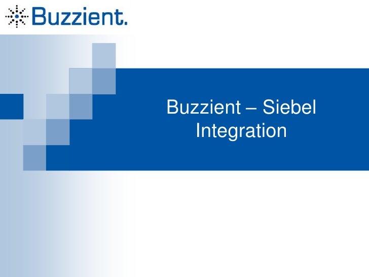 Buzzient – Siebel Integration<br />