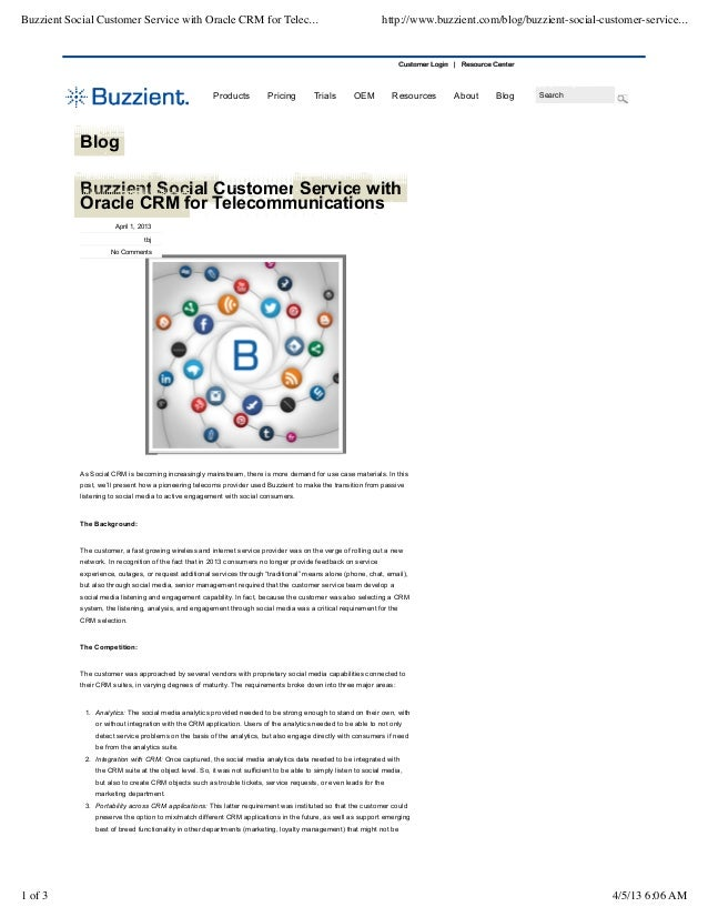 Buzzient Social Customer Service with Oracle CRM for Telec...                                                      http://...
