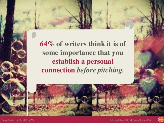 64% of writers think it is of some importance that you establish a personal connection before pitching. Image Credit: http...