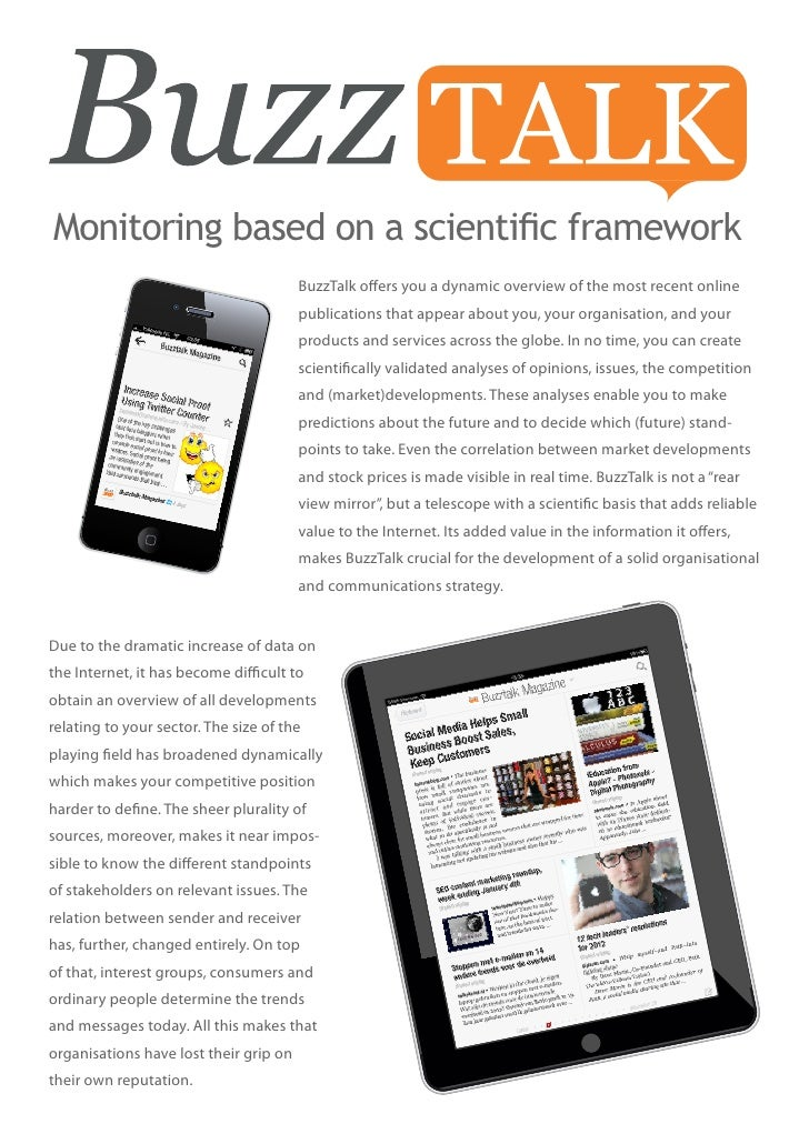 Monitoring based on a scientific framework                                        BuzzTalk offers you a dynamic overview o...