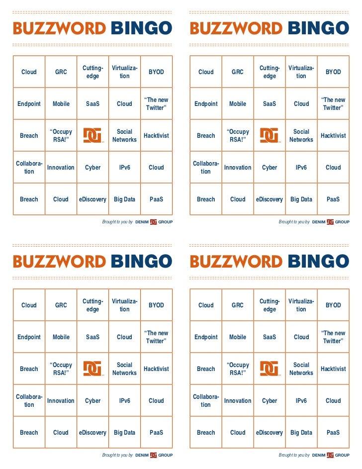 BUZZWORD BINGO BUZZWORD BINGO                         Cutting-      Virtualiza-                                          C...