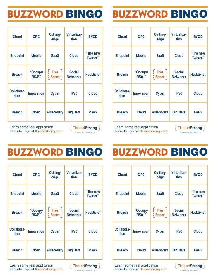 BUZZWORD BINGO BUZZWORD BINGO                         Cutting-    Virtualiza-                                         Cutt...