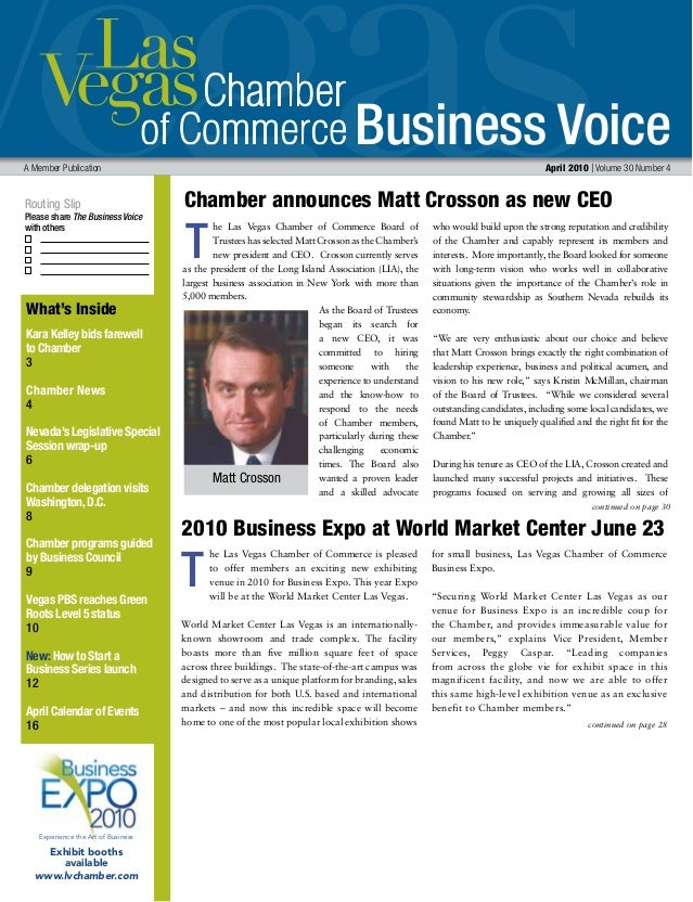 Business Voice Routing Slip Please share The Business Voice with others A Member Publication 	 April 2010 | Volume 30 Numb...