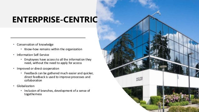 • Conservation of knowledge • Know-how remains within the organization • Information Self-Service • Employees have access ...
