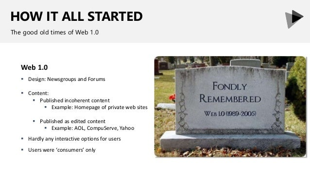 HOW IT ALL STARTED The good old times of Web 1.0 Web 1.0  Design: Newsgroups and Forums  Content:  Published incoherent...