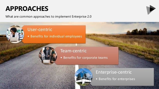 APPROACHES What are common approaches to implement Enterprise 2.0 User-centric • Benefits for individual employees Team-ce...
