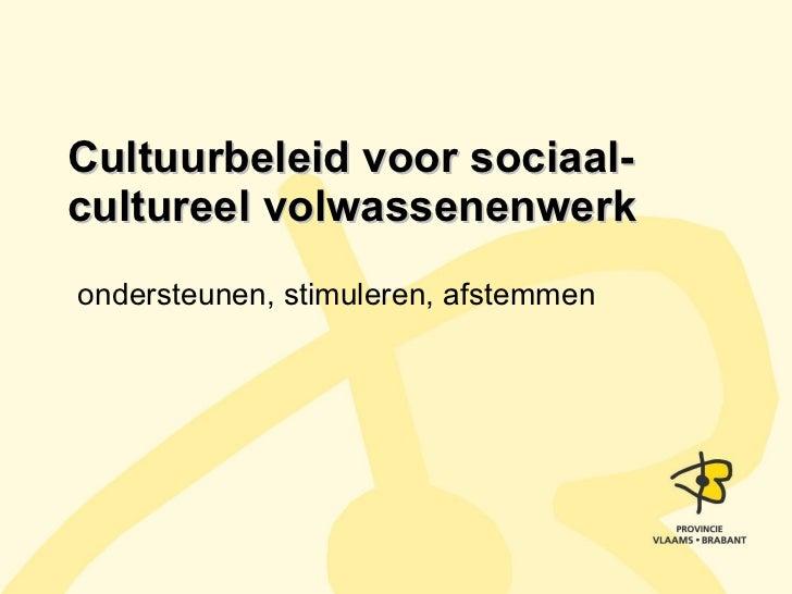 Cultuurbeleid voor sociaal-cultureel volwassenenwerk ondersteunen, stimuleren, afstemmen