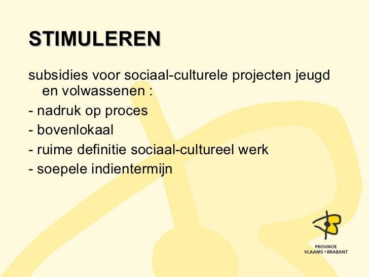 STIMULEREN <ul><li>subsidies voor sociaal-culturele projecten jeugd en volwassenen : </li></ul><ul><li>- nadruk op proces ...