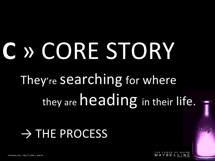 C   » CORE STORY  © brandez-vous  |  May 13, 2009  |  slide  They 're   searching   for  where they  are   heading  in the...