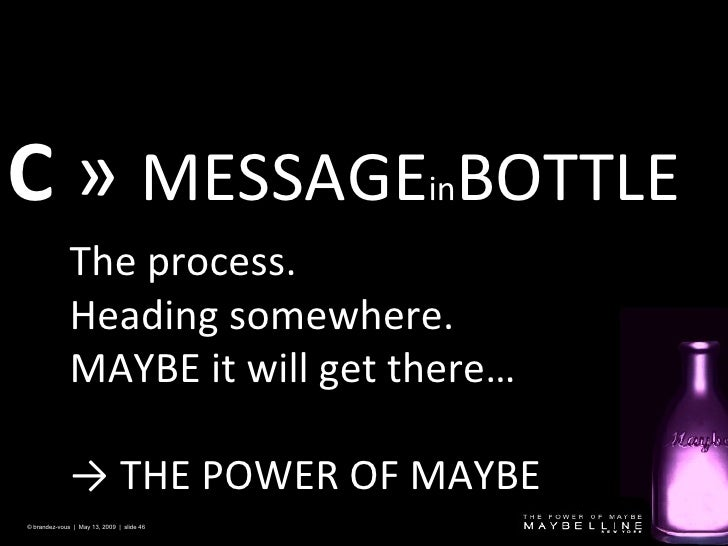 C   »  MESSAGE in BOTTLE   © brandez-vous  |  May 13, 2009  |  slide  The process. Heading somewhere. MAYBE it will get th...