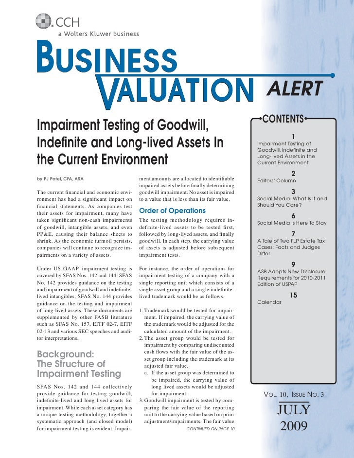 CONTENTS Impairment Testing of Goodwill,                                                                                  ...