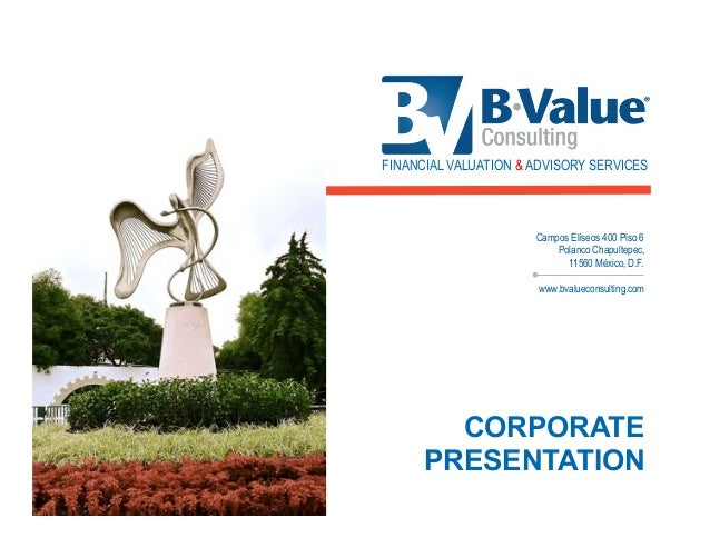 FINANCIAL VALUATION & ADVISORY SERVICES  Campos Elíseos 400 Piso 6 Polanco Chapultepec, 11560 México, D.F. www.bvalueconsu...
