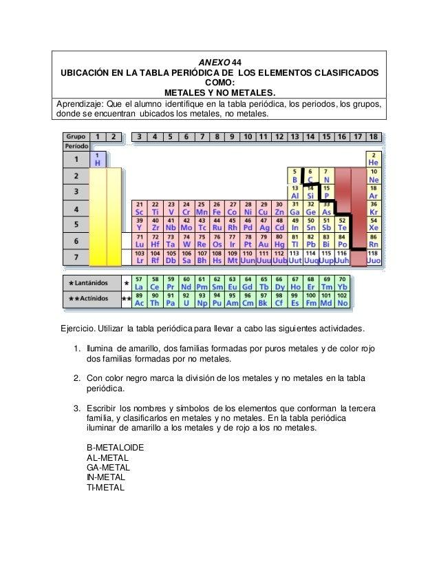 Tabla peridica anexo 44 ubicacin en la tabla peridica de los elementos clasificados como metales y no urtaz Image collections