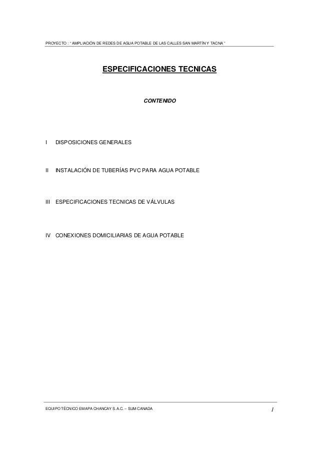 "PROYECTO : "" AMPLIACIÓN DE REDES DE AGUA POTABLE DE LAS CALLES SAN MARTÍN Y TACNA "" EQUIPO TÉCNICO EMAPA CHANCAY S.A.C. – ..."