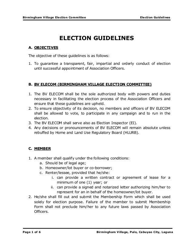 Birmingham Village Election Committee Election Guidelines Page 1 of 6 Birmingham Village, Pulo, Cabuyao City, Laguna ELECT...