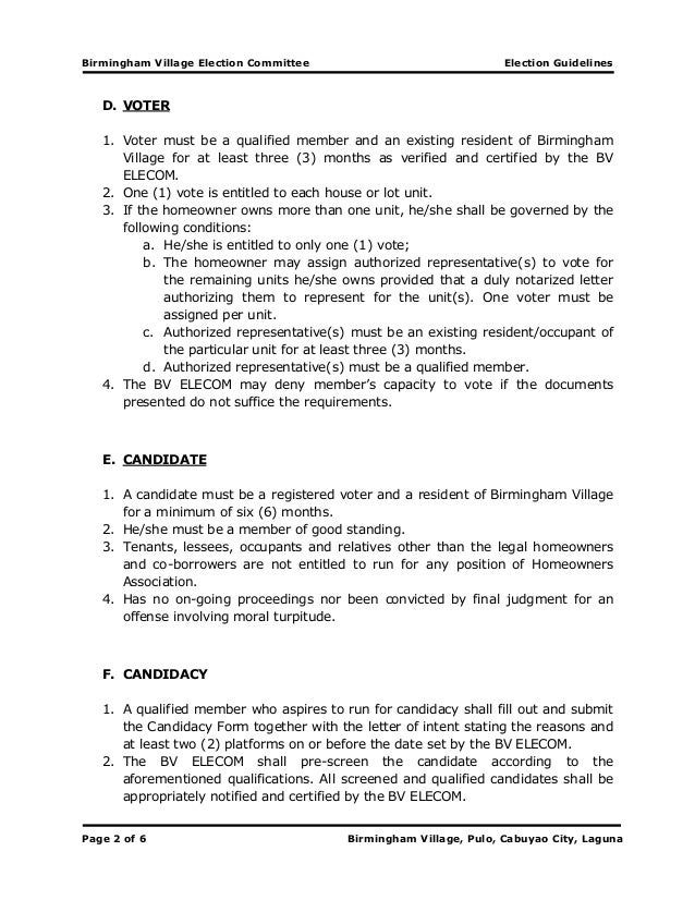 BVELECOM Final Election Guidelines 2013