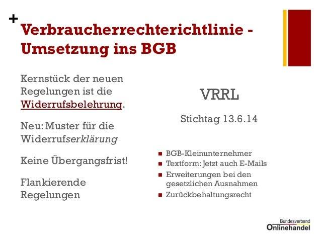 bvoh neue widerrufsbelehrung und vrrl im onlinehandel inkl ebay und amazon - Widerrufserklarung Muster