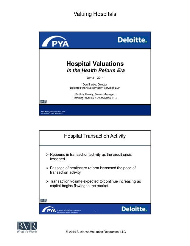Valuing Hospitals