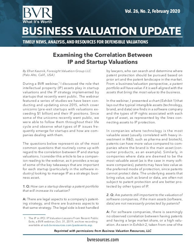 TIMELY NEWS, ANALYSIS, AND RESOURCES FOR DEFENSIBLE VALUATIONS Vol. 26, No. 2, February 2020 BUSINESS VALUATION UPDATE bvr...