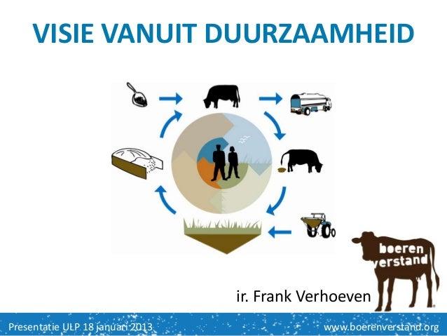 VISIE VANUIT DUURZAAMHEID                                  ir. Frank VerhoevenPresentatie ULP 18 januari 2013             ...