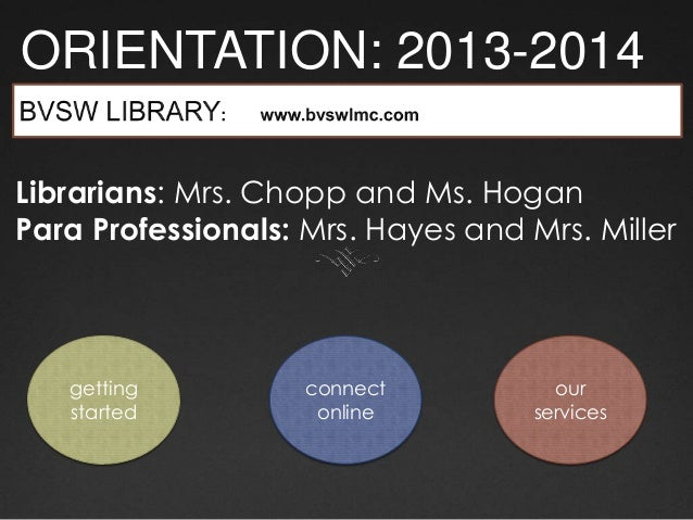 ORIENTATION: 2013-2014 getting started connect online our services Librarians: Mrs. Chopp and Ms. Hogan Para Professionals...