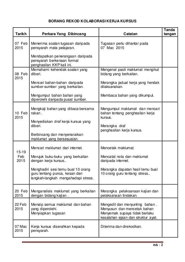 m/s : 2 BORANG REKOD KOLABORASI KERJA KURSUS Tarikh Perkara Yang Dibincang Catatan Tanda tangan 07 Feb 2015 Menerima soala...