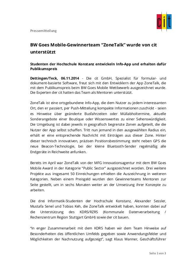 """Pressemitteilung  BW Goes Mobile-Gewinnerteam """"ZoneTalk"""" wurde von cit  unterstützt  Studenten der Hochschule Konstanz ent..."""