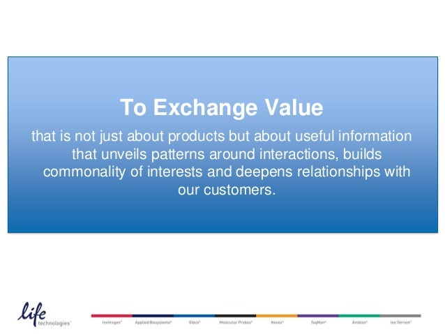 To Exchange Valuethat is not just about products but about useful information       that unveils patterns around interacti...