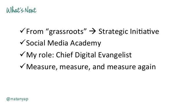 "What'sNext @natanyap üFrom  ""grassroots""  à  Strategic  Ini-a-ve   üSocial  Media  Academy   üMy  ..."