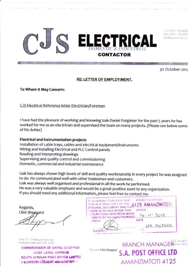 cjs electrical reference letter